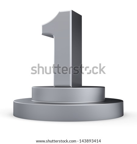 3d silver number 1 from my number collection - stock photo