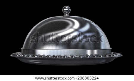 3D silver platter isolated on black background High resolution  - stock photo