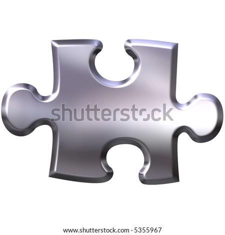 3D Silver Puzzle Piece - stock photo