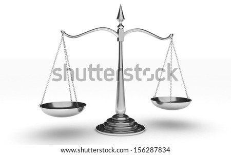 3d silver scales of justice isolated on white background - stock photo