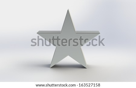 3d silver star isolated on white - stock photo