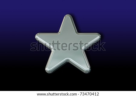 3D Silver Star on a Blue Background - stock photo