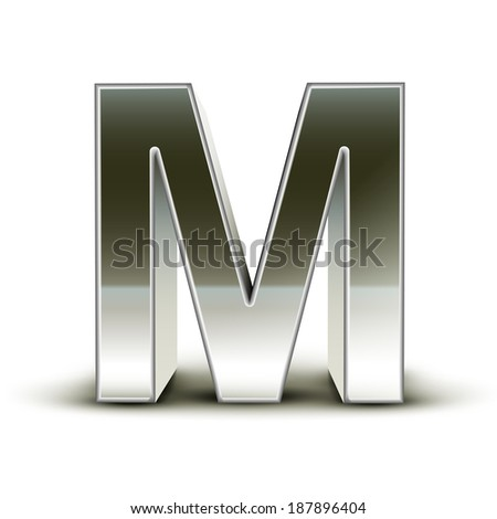 3d silver steel letter M isolated white background - stock photo