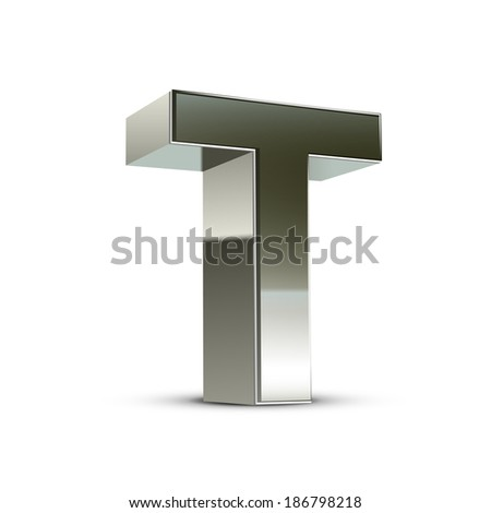 3d silver steel letter T isolated white background