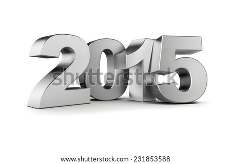 3d - silver 2015 text on white background - stock photo