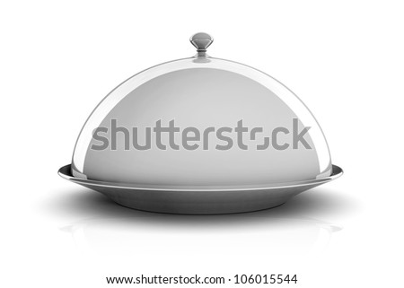 3d silver tray on white background - stock photo