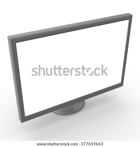 3d silver wide monitor isolated on white background
