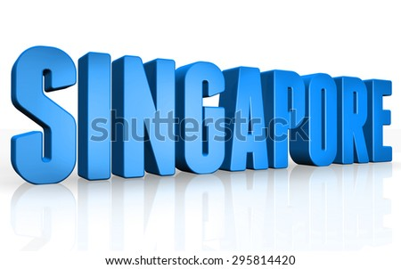 3D Singapore text on white background