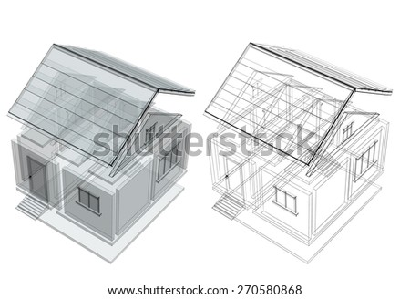 3d sketch of a house. Objects isolated on white background - stock photo