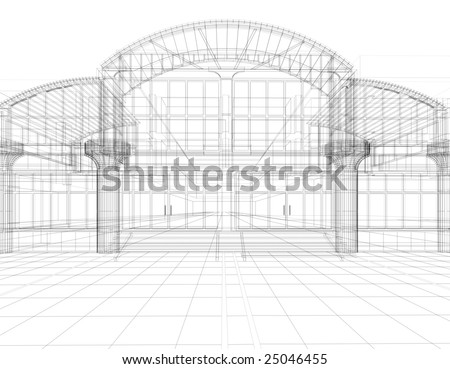 3D sketch of office building - stock photo