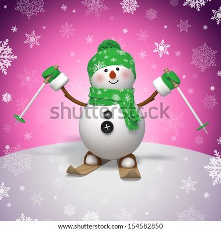 3d skiing snowman, Christmas greeting card - stock photo