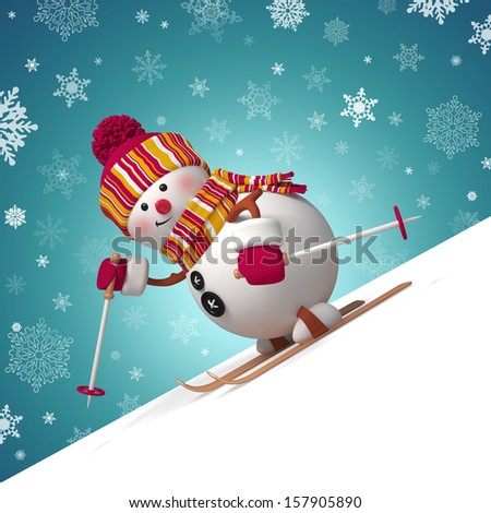 3d skiing snowman Christmas greeting card - stock photo