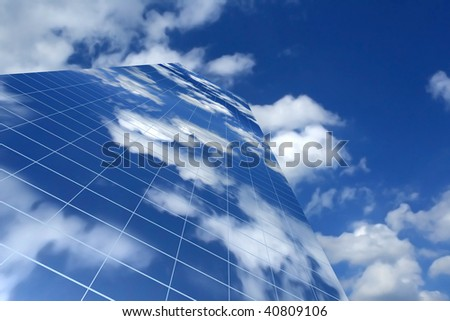 3d skyscraper, with clouds reflection in its windows
