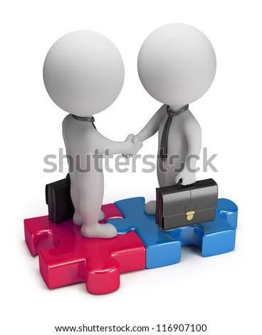 3d small business people standing on the puzzle and make a handshake. 3d image. Isolated white background.