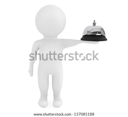 3d small character with a service bell on a white background - stock photo