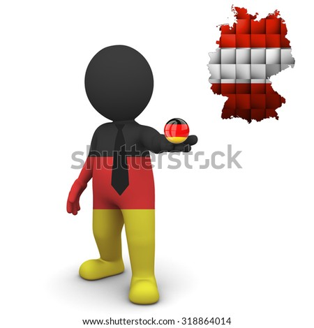 3 D small Germany people - Map of Germany in Austrian flag colors. Austrians in Germany  - stock photo