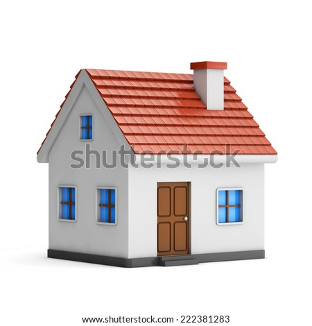 3d small house isolated white background with clipping path
