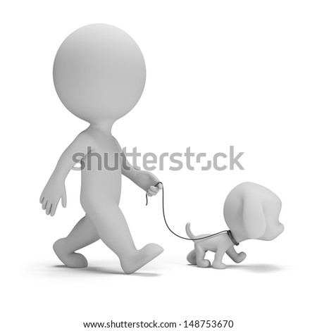 3d small man walking a little puppy. 3d image. White background. - stock photo