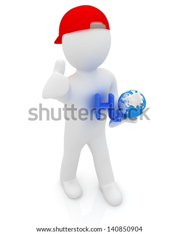 3d small man with H2O - formula of water on white background. 3d image - stock photo