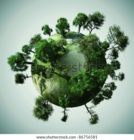 3d Small peaceful green planet - stock photo