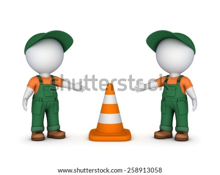 3d small people and traffic cone.Isolated on white background. - stock photo
