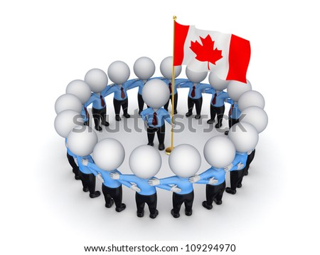 3d small people around Canadian flag.Isolated on white background.3d rendered. - stock photo