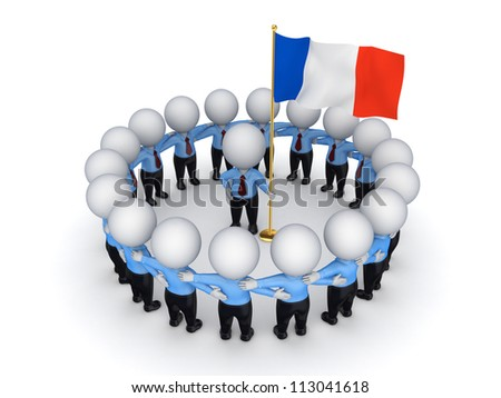 3d small people around French flag.Isolated on white background.3d rendered.