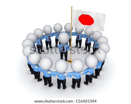 3d small people around Japanese flag.Isolated on white background.3d rendered.