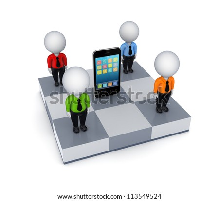 3d small people around mobile phone.Isolated on white background.