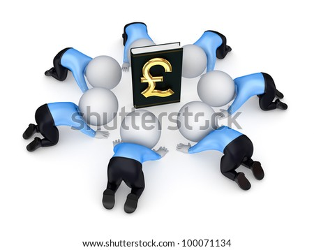 3d small people around the book with pound sterling symbol.Isolated on white background.3d rendered. - stock photo
