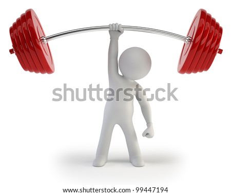 3d small people - Athlete lifting weights - stock photo