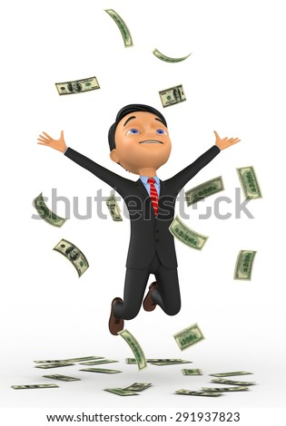 3d small people bathing in a heap of money. 3d image. Isolated white background