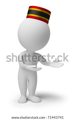 "3d small people - bellboy in an ""welcome"" pose. 3d image. Isolated white background."