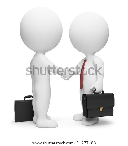 3d small people - businessmen in ties and with a portfolio. 3d image. Isolated white background.