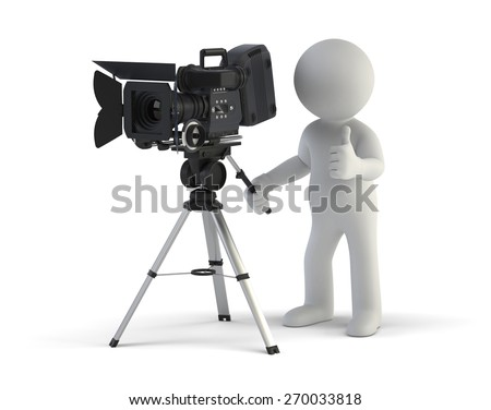 3d small people - Cameraman - stock photo