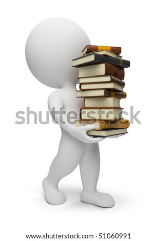3d small people carrying books. 3d image. Isolated white background. - stock photo