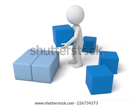 3d small people carrying some cubes. 3d image. Isolated white background