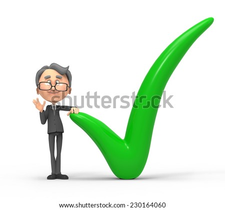 3d small people checkmark  - stock photo