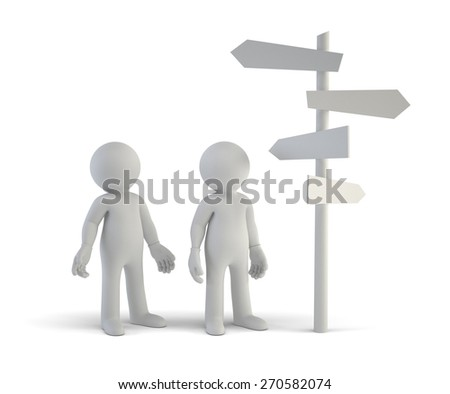 3d small people - choice and directions - stock photo