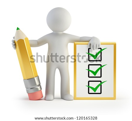 3d small people - clipboard and pencil - stock photo