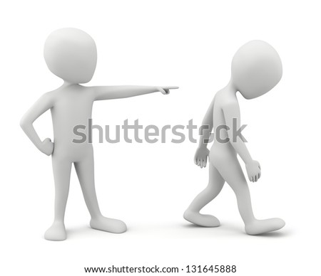 3d small people - conflict. 3D image. On a white background.
