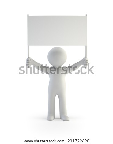 3d small people - demonstrator, Isolated white background - stock photo