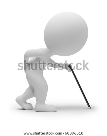 3d small people - elderly person with a stick. 3d image. Isolated white background.