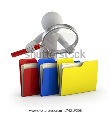 3d small people - examines files - stock photo