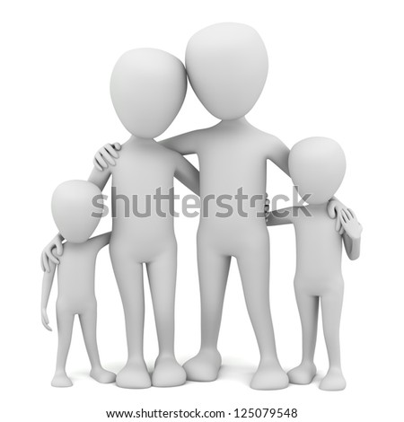 3d small people - family. 3d image. On a white background - stock photo