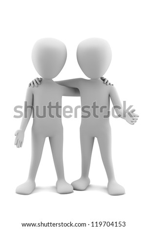 3d small people friends. 3d image. On a white background.