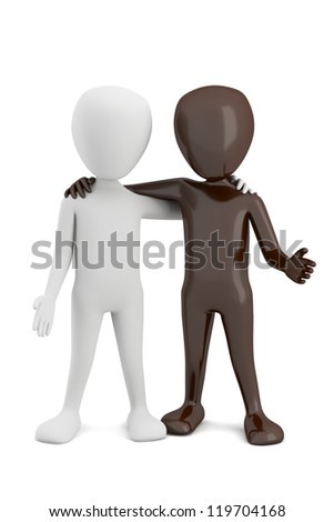 3d small people-friendship countries. 3d image. On a white background.