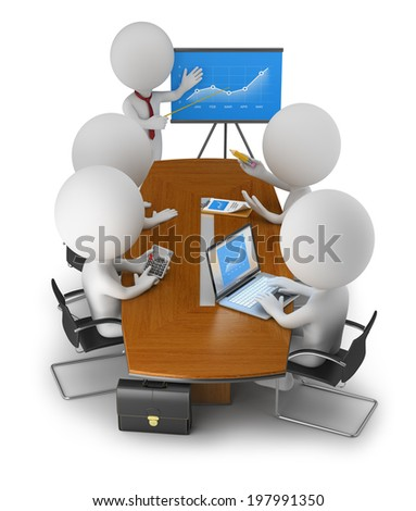 3d small people gathered at the table business meeting. 3d image. White background. - stock photo