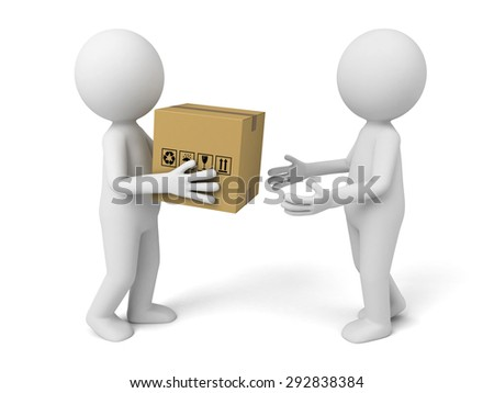 3d small people give a package to customer. 3d image. Isolated white background - stock photo