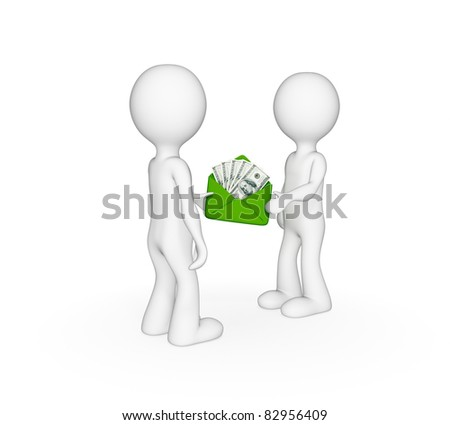 3d small people giving each other money. Isolated on white background. - stock photo